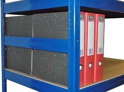 Boczna bariera 45 cm niebieska, do metalowego regału przeciw wypadnięciu
