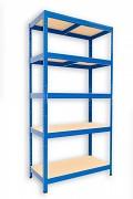 Regał metalowy Biedrax 35 x 60 x 180 cm - 5 półek x 175 kg, niebieski