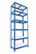 Regał metalowy Biedrax 35 x 60 x 240 cm - 6 półek białych x 175 kg, niebieski