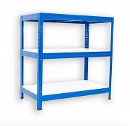 Regał metalowy Biedrax 35 x 75 x 90 cm - 3 półki białe x 175 kg, niebieski