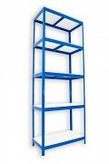 Regał metalowy Biedrax 35 x 75 x 240 cm - 5 półek białych x 175 kg, niebieski