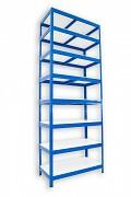 Regał metalowy Biedrax 35 x 90 x 210 cm - 8 półek białych x 175 kg, niebieski