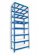 Regał metalowy Biedrax 45 x 120 x 270 cm - 8 półek białych x 175 kg, niebieski