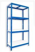 Regał metalowy Biedrax 50 x 90 x 180 cm - 4 półki białe x 175 kg, niebieski