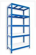 Regał metalowy Biedrax 50 x 120 x 180 cm - 5 półek białych x 175 kg, niebieski