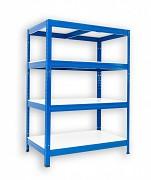 Regał metalowy Biedrax 60 x 60 x 120 cm - 4 półki białe x 175 kg, niebieski