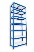 Regał metalowy Biedrax 60 x 75 x 270 cm - 7 półek białych x 175 kg, niebieski
