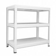 Regał metalowy Biedrax 45 x 75 x 90 cm - 3 półki białe x 175 kg, biały